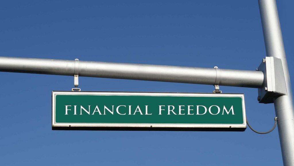Green Financial Freedom Sign Sky Blue Background